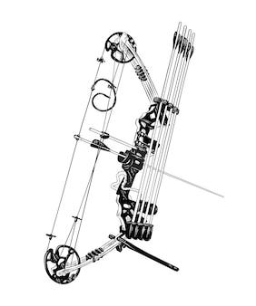 Esboço desenhado de mão de arco e flecha em preto