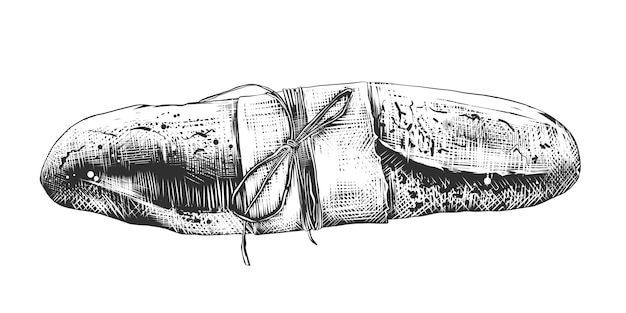 Esboço desenhado de mão de baguete francesa em monocromático