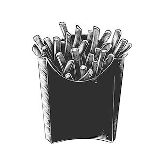 Esboço desenhado de mão de batatas fritas em monocromático