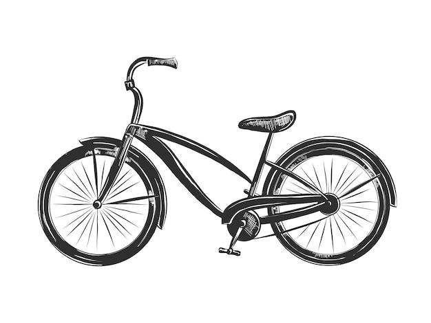 Esboço desenhado de mão de bicicleta em monocromático