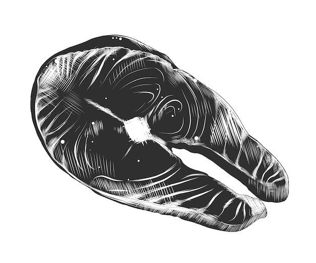 Esboço desenhado de mão de bife de salmão em monocromático
