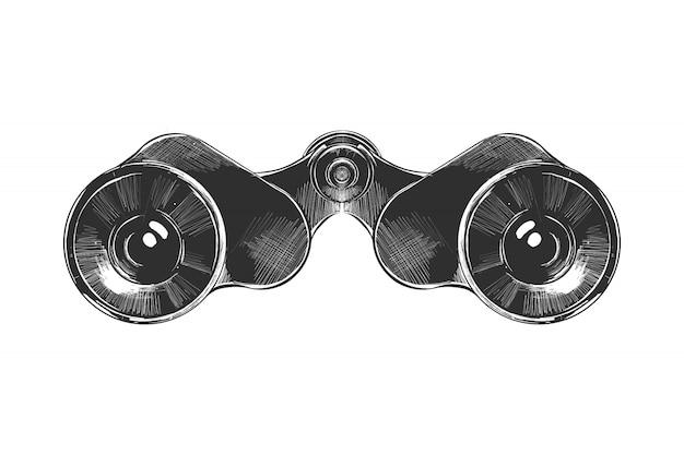 Esboço desenhado de mão de binóculos em monocromático