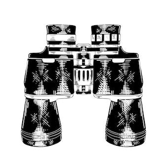 Esboço desenhado de mão de binóculos em preto