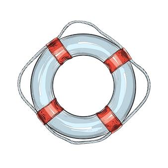 Esboço desenhado de mão de boia salva-vidas na cor vermelha e azul, isolado. desenho detalhado estilo vintage.