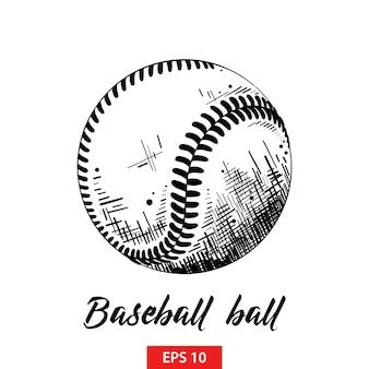 Esboço desenhado de mão de bola de beisebol ou softball