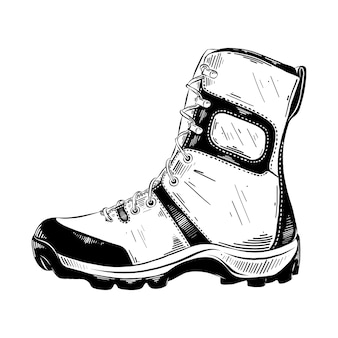 Esboço desenhado de mão de bota de trekking em preto