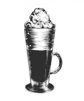 Esboço desenhado de mão de café com leite em monocromático