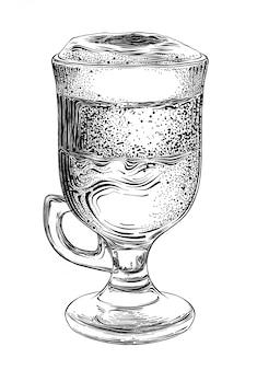Esboço desenhado de mão de café com leite em preto isolado. desenho detalhado estilo vintage.