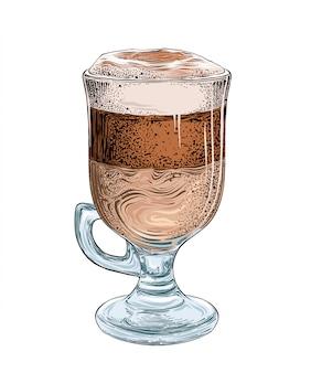 Esboço desenhado de mão de café com leite na cor isolado no branco.