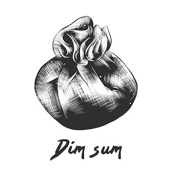 Esboço desenhado de mão de dim sum em preto e branco