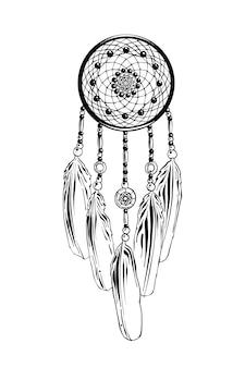 Esboço desenhado de mão de dreamcatcher