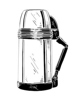 Esboço desenhado de mão de garrafa térmica