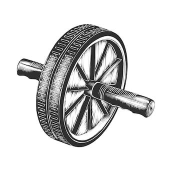Esboço desenhado de mão de lançamento de roda em monocromático