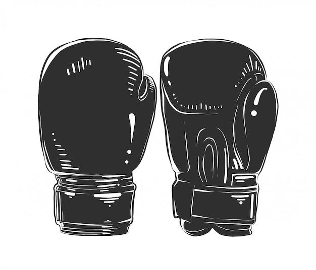 Esboço desenhado de mão de luvas de boxe em monocromático