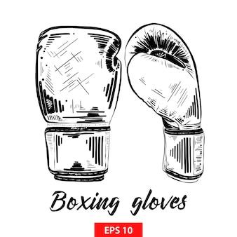 Esboço desenhado de mão de luvas de boxe em preto