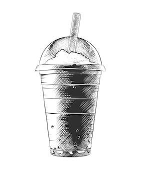 Esboço desenhado de mão de milk-shake de verão