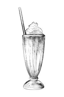 Esboço desenhado de mão de milkshake em monocromático