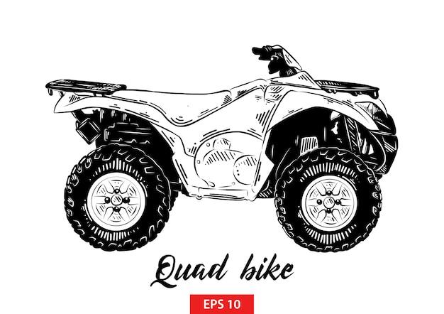 Esboço desenhado de mão de moto-quatro em preto