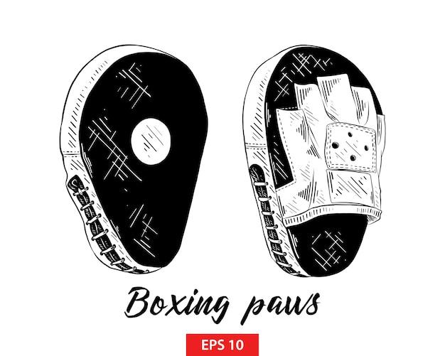 Esboço desenhado de mão de patas de treinamento de boxe
