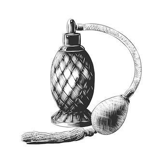 Esboço desenhado de mão de perfume em preto e branco