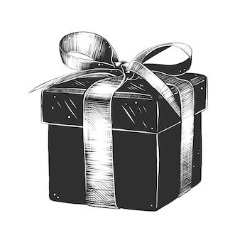 Esboço desenhado de mão de presente embalado em preto e branco