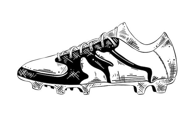 Esboço desenhado de mão de sapato de futebol em preto