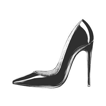 Esboço desenhado de mão de sapato de salto alto feminino