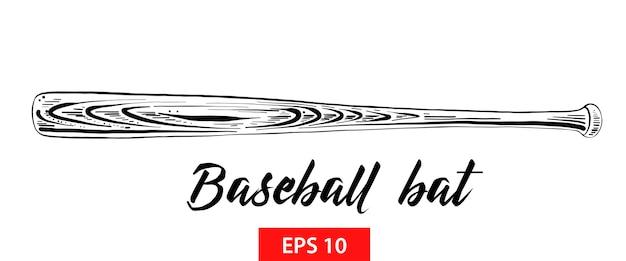 Esboço desenhado de mão de taco de beisebol em preto