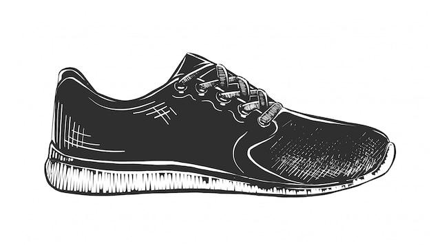Esboço desenhado de mão de tênis em preto e branco