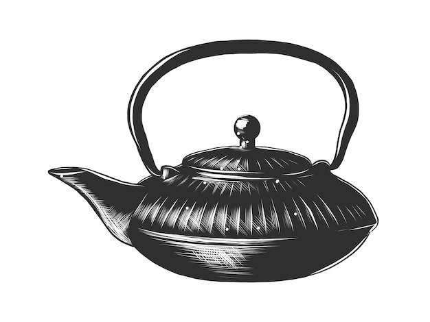 Esboço desenhado de mão de um bule de chá chinês