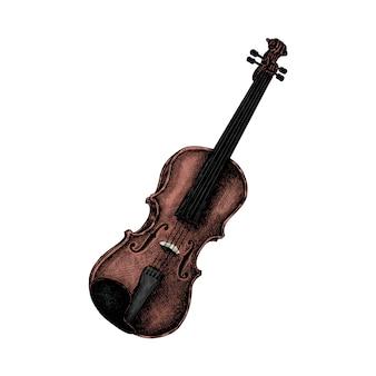 Esboço desenhado de mão de um violino