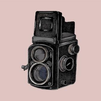 Esboço desenhado de mão de uma câmera