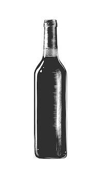 Esboço desenhado de mão de uma garrafa de vinho