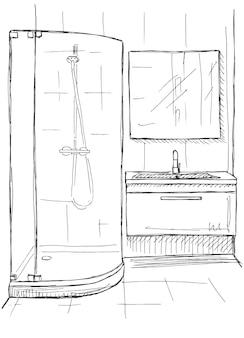 Esboço desenhado de mão. desenho linear de um interior. parte do banheiro. ilustração vetorial