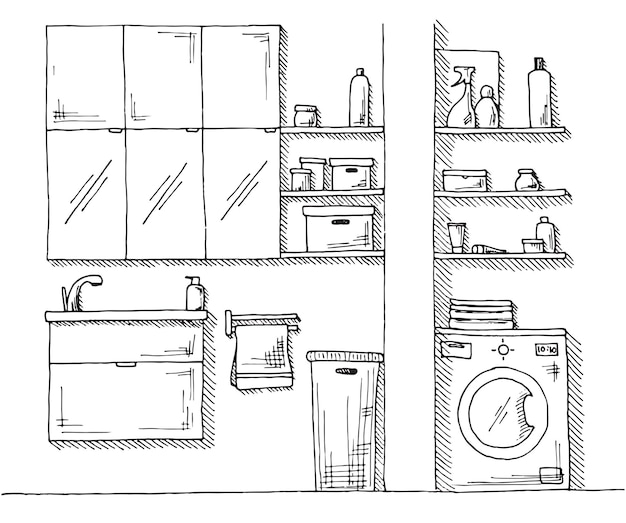 Esboço desenhado de mão. desenho linear de um interior. parte do banheiro. ilustração.