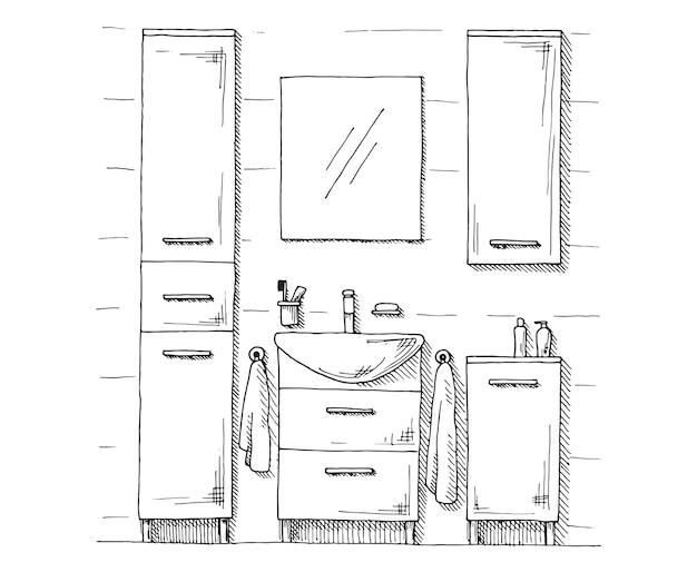 Esboço desenhado de mão. desenho linear de um interior. parte do banheiro.