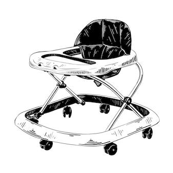 Esboço desenhado de mão do andador de bebê