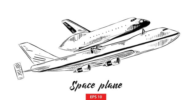 Esboço desenhado de mão do avião espacial em preto