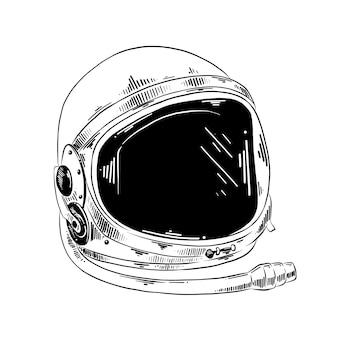 Esboço desenhado de mão do capacete de astronauta