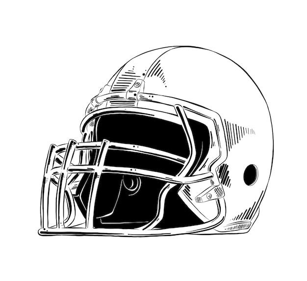 Esboço desenhado de mão do capacete de futebol americano