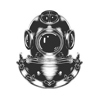 Esboço desenhado de mão do capacete de mergulho em monocromático