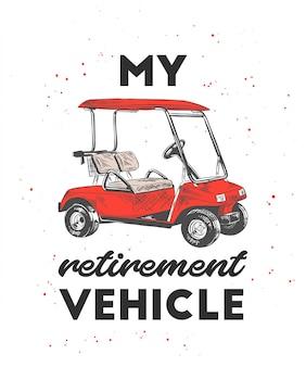Esboço desenhado de mão do carrinho de golfe com tipografia