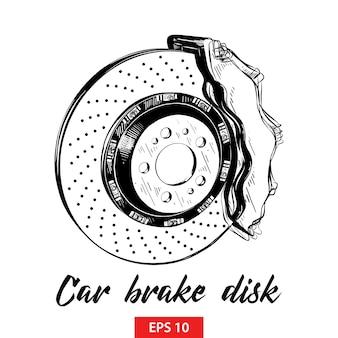 Esboço desenhado de mão do disco de freio do carro em preto