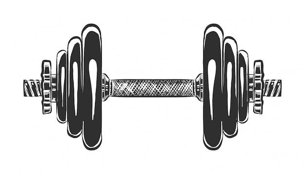 Esboço desenhado de mão do haltere em monocromático
