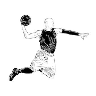 Esboço desenhado de mão do jogador de basquete em preto