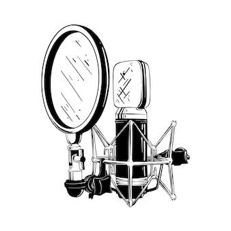 Esboço desenhado de mão do microfone de estúdio