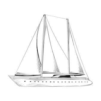 Esboço desenhado de mão do navio do mar em preto