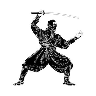 Esboço desenhado de mão do ninja japonês