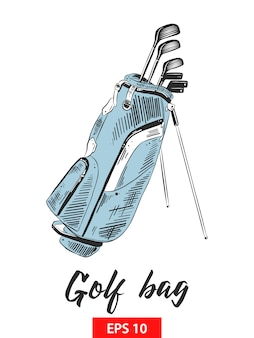 Esboço desenhado de mão do saco de golfe em colorido