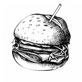 Esboço desenhado de mão do sanduíche.